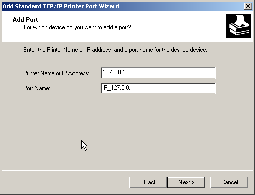 Enter the IP of the box running lpdspooler, for this example use the local box 127.0.0.1
