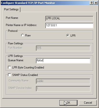 Configure port settings for LPR printing, the Queue name to RAW