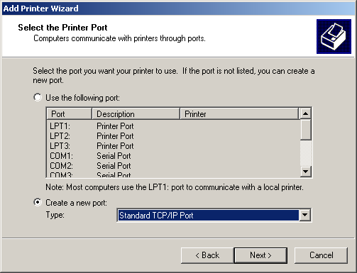 Create a new port of type Standard TCP/IP