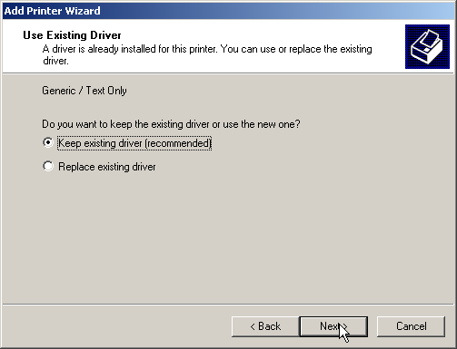 Choose if you want to keep the existing driver or not.